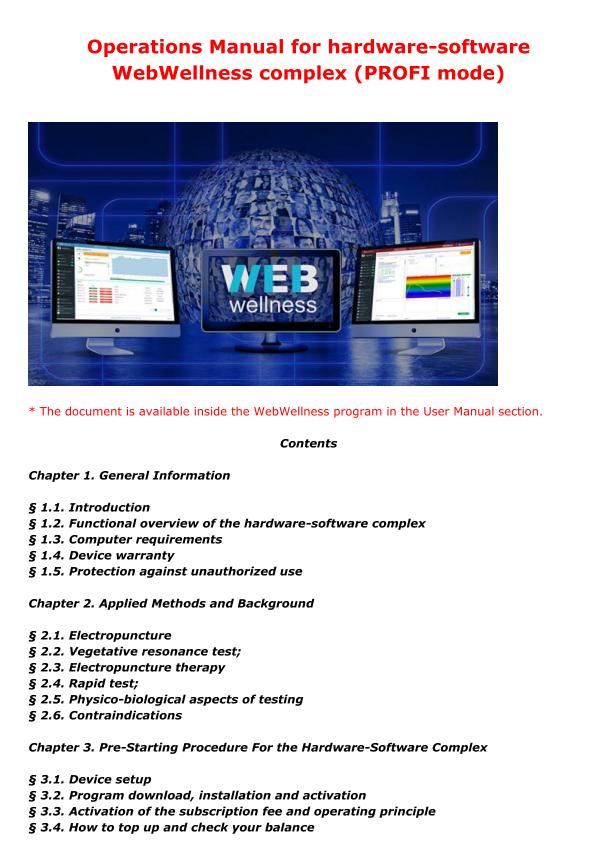 life expert profi bioresonance machine instructions